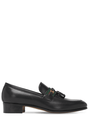 Paride Gg & Web Leather Loafers