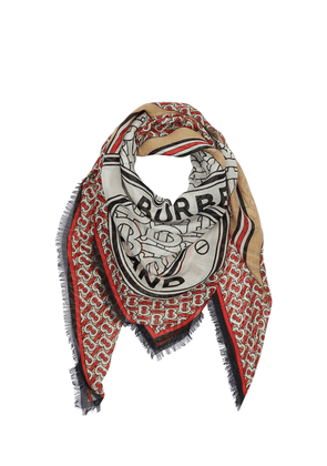 All Over Monogram Wool & Silk Scarf