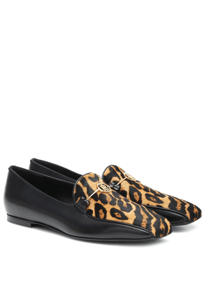 Leopard-print calf-hair loafers