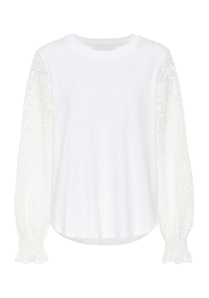 Lace-trimmed cotton-jersey top