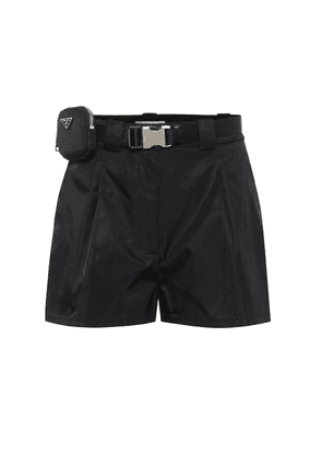 Belted high-rise nylon shorts