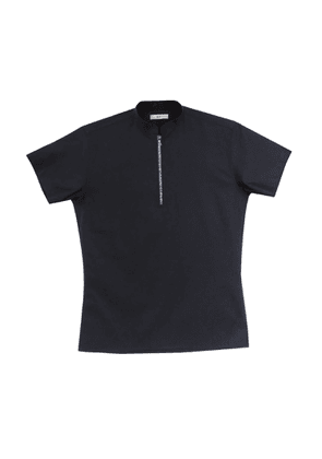 NOT - Cotton Short Sleeve Polo With Blue Zipper