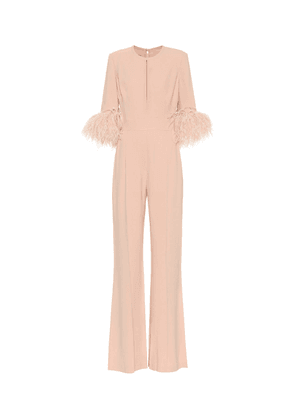 Exclusive to Mytheresa - Feather-trimmed crêpe jumpsuit