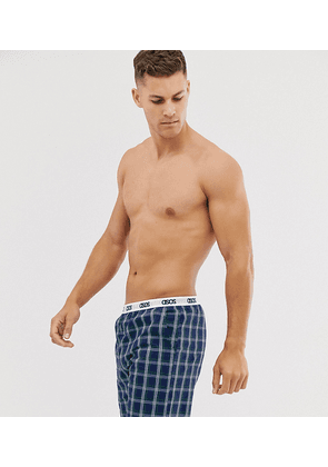 ASOS DESIGN lounge pyjama short in navy and green check with branded waistband
