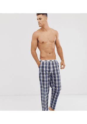 ASOS DESIGN lounge pyjama bottom in navy and white check with branded waistband