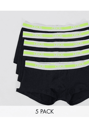 ASOS DESIGN 5 pack short trunks in black with neon branded waistbands save