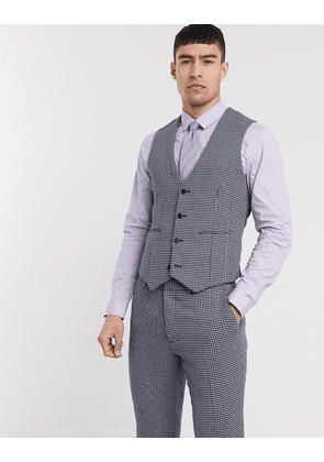 ASOS DESIGN wedding skinny suit waistcoat in blue and grey wool blend microcheck