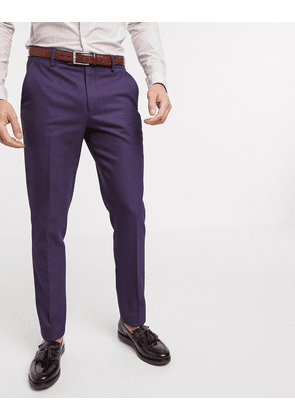 ASOS DESIGN wedding skinny wool mix suit trousers in soft berry twill-Red