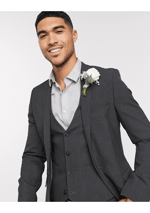 ASOS DESIGN wedding super skinny suit jacket in charcoal four way stretch-Grey