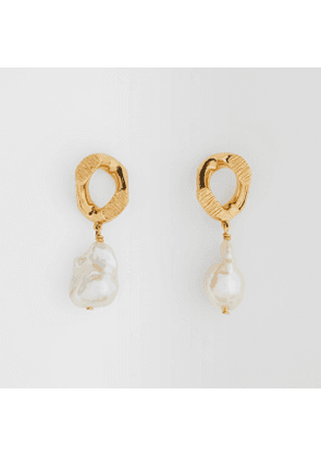 Burberry Pearl Detail Gold-plated Chain-link Earrings, Yellow