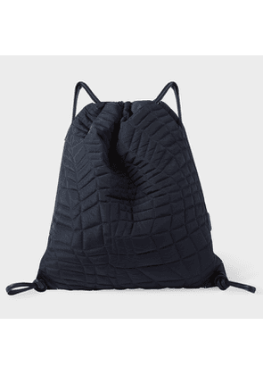 Men's Navy Quilted Nylon Drawstring Backpack