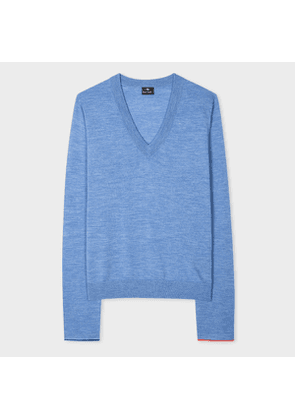 Women's Blue V-Neck Wool-Blend Sweater With Interior Cuff Trims