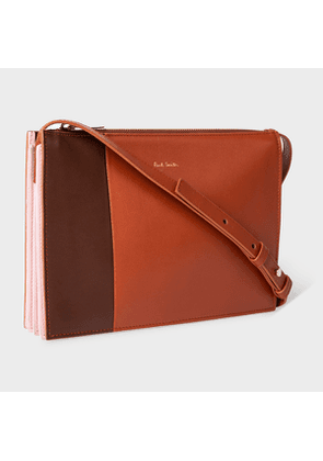 Women's Brown Colour-Block 'Concertina' Leather Cross-Body Bag