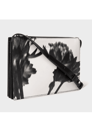 Women's Black and White 'Screen Print Floral' Leather 'Concertina' Cross-Body Bag