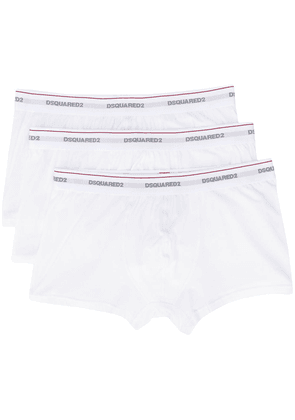 Dsquared2 logo embroidered stripe detail boxers - White
