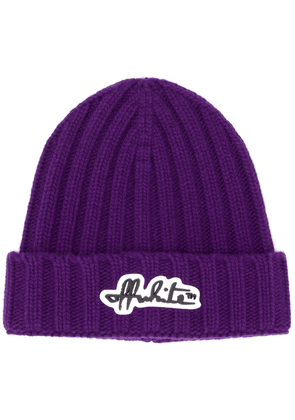 Off-White logo patch knitted beanie - PURPLE