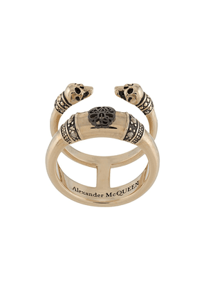 Alexander McQueen Skull and Charm double-band ring - GOLD