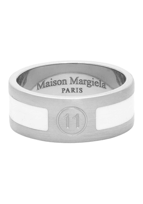 Maison Margiela Silver and White Enameled Logo Ring
