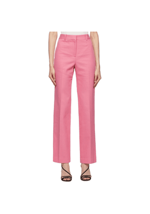 Victoria Beckham Pink High-Waisted Slim Leg Trousers