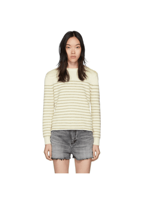Saint Laurent White and Gold Lame Sailor Sweater