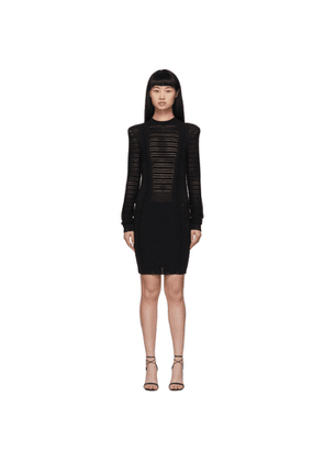 Balmain Black Transparent Stripe Dress