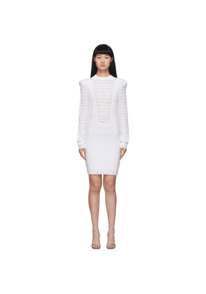 Balmain White Transparent Stripe Dress