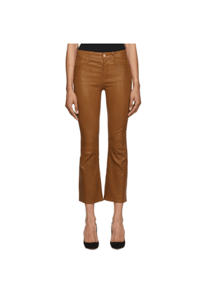 Frame Brown Leather Le Crop Mini Boot Pants
