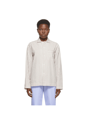 Tekla White and Brown Striped Pyjama Shirt