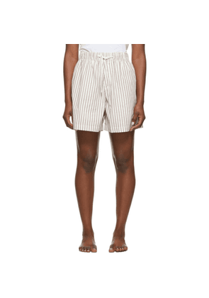 Tekla White and Brown Striped Pyjama Shorts