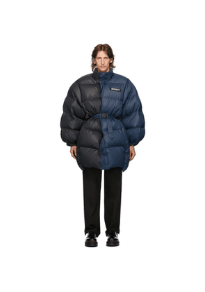 VETEMENTS Blue and Black Puffer Jacket