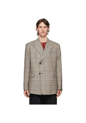Raf Simons Beige and Brown Wool Sharp Lapel Blazer