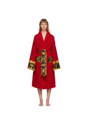 Versace Underwear Red Baroque Logo Bathrobe