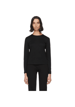 John Elliott Black Cotton High Twist Classic Long Sleeve T-Shirt