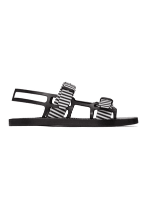 Burberry Black and White Check Webb Sandals