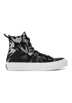 McQ Alexander McQueen Black and White Swallow Plimsoll High-Top Sneakers
