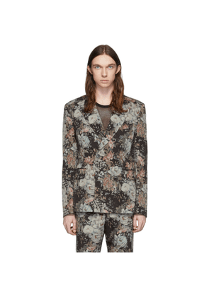 Dries Van Noten Multicolor Wool Floral Double-Breasted Blazer