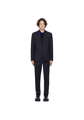 Etro Navy Wool Houndstooth Suit