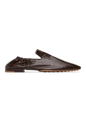 Bottega Veneta Black Leather Square Toe Loafers