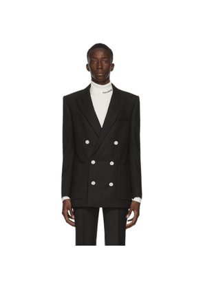 Balmain Black Wool Twill Double-Breasted Blazer