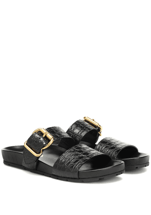 Croc-effect leather slides