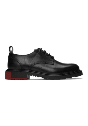 Valentino Black Valentino Garavani V-Logo Leather Derbies