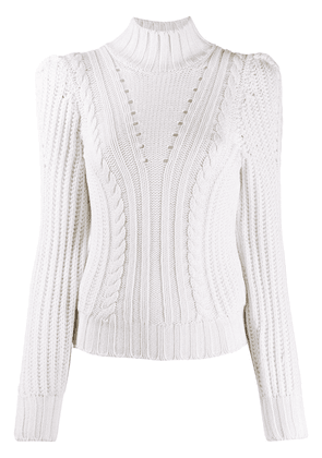 Dondup fitted cable knit jumper - White