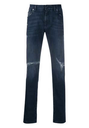 Dolce & Gabbana ripped mid-rise skinny jeans - Blue