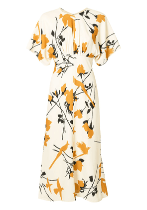 Victoria Beckham floral print midi dress - Yellow