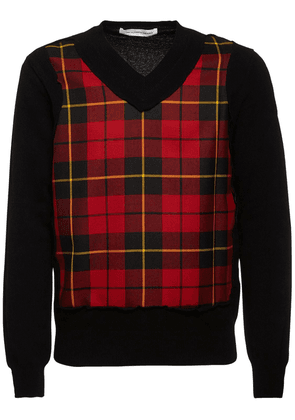 V-neck Check Wool Sweater
