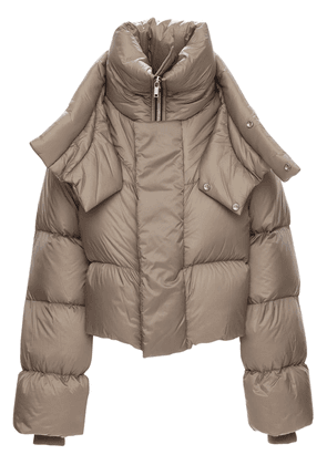 Nylon Puff Down Jacket W/double Collar