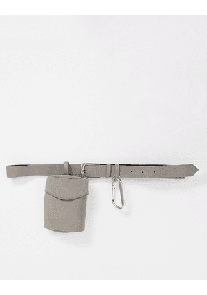 ASOS DESIGN slim belt in grey faux leather with pouch