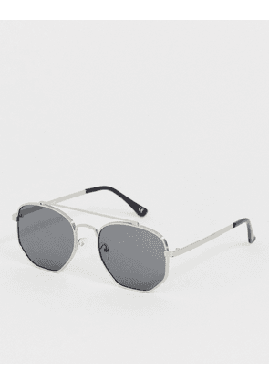 ASOS DESIGN aviator sunglasses in brushed silver and smoke lens