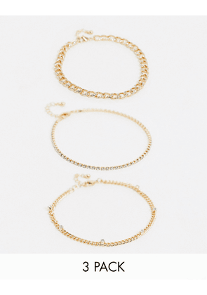 ASOS DESIGN pack of 3 anklets with crystal curb chains in gold tone