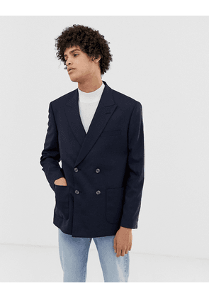 ASOS DESIGN boxy oversized double breasted blazer with cross hatch in navy